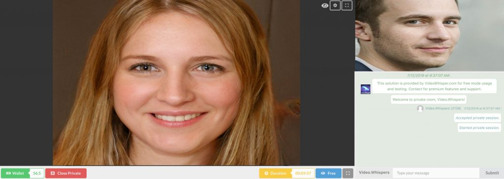 HTML5 privé 2 manier webcam video call. Betalen per minuut.