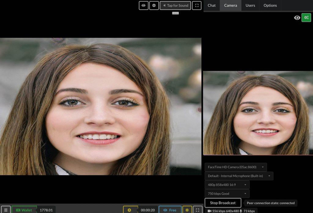 表演者上线. HTML5 视频聊天应用程序可以在全页模式下加载与高级界面: 聊天, 相机, 用户列表, 房间选项.