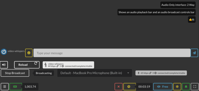 Audio Only Call : 2 Way Playback & Broadcast